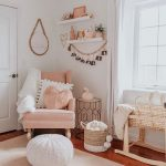 Nursery, Wooden Floor, White Wall, Pink Chair, Rattan Rocking Crib, White Woven Rattan Ottoman, White Rug, White Curtain