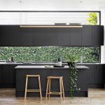 Open Kitchen, Black Modern Upper Cabinet, Bottom Cabinet, Clear Glass Backsplash, Black Modern Island, Wooden Stools