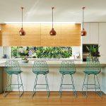 Open Kitchen, White Cabinet, Wooden Upper Cabinet, White Island, Green Framed Stool, Copper Pendants