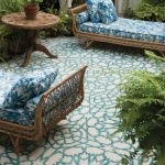 Patio, White Blue Patterned Floor Tiles, Rattan Bench With White Blue Cushion, Wooden Coffee Table
