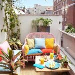 Patio, White Wall, Pink Rattan Bench, Wooden Coffee Table