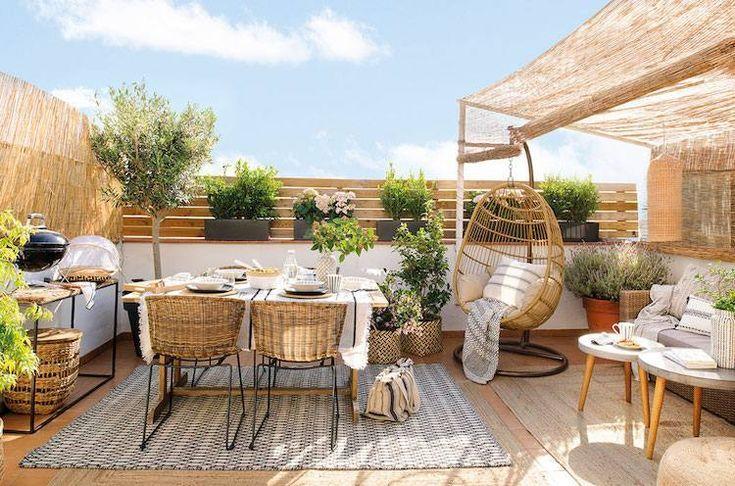 patio, wooden floor, rattan chairs, rattan swing chair