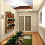 Small Garden, Grass, Flowers, Vertical Garden, White Wall, White Patterned Wall,