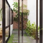 Small Garden, Grass, Grey Footstep, White Wall, Small Brick Exposed Accent, Grey Plant Pots