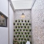 Small Garden, Grass, White Stone Wall, White Wall, Vertical Garden, White Chair