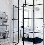 Studio Apartment, White Wooden Floor, White Wall, Bedroom With Glass Walla Nd Door, Window, White Pendant