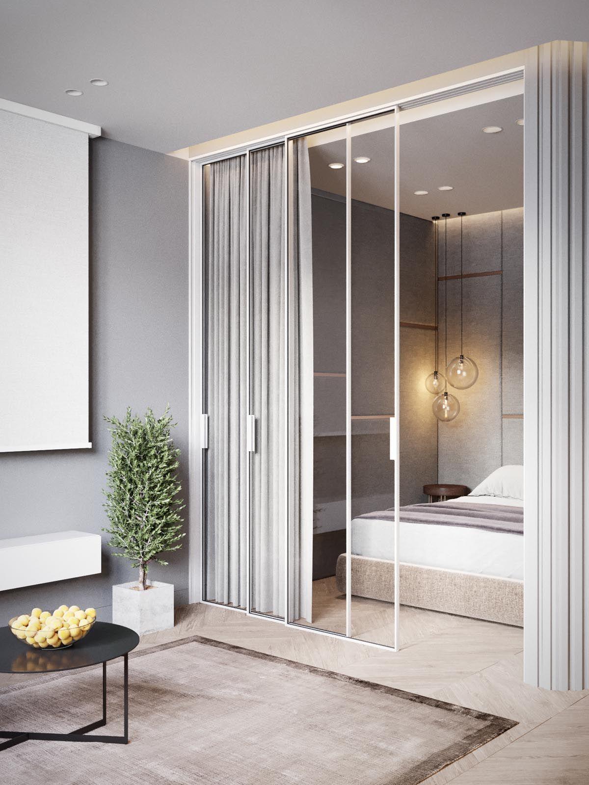 studio apartment, wooden floor, cream bed platform, glass pendants, glass sliding door