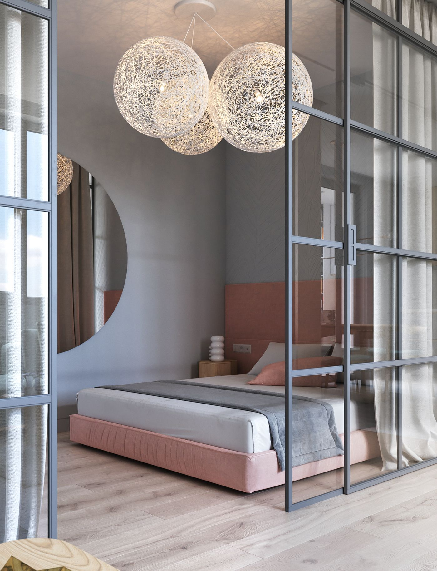 studio apartment, wooden floor, pink bed platform, glass partition, white curtain, round mirror, white large round pendants