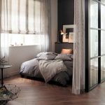 Studio, Wooden Floor, Glass Partition, White Curtain, White Wall, Black Accent Wall