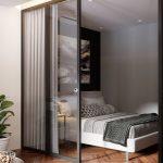Studio, Wooden Floor, White Wall, White Bedding, Glass Sliding Door