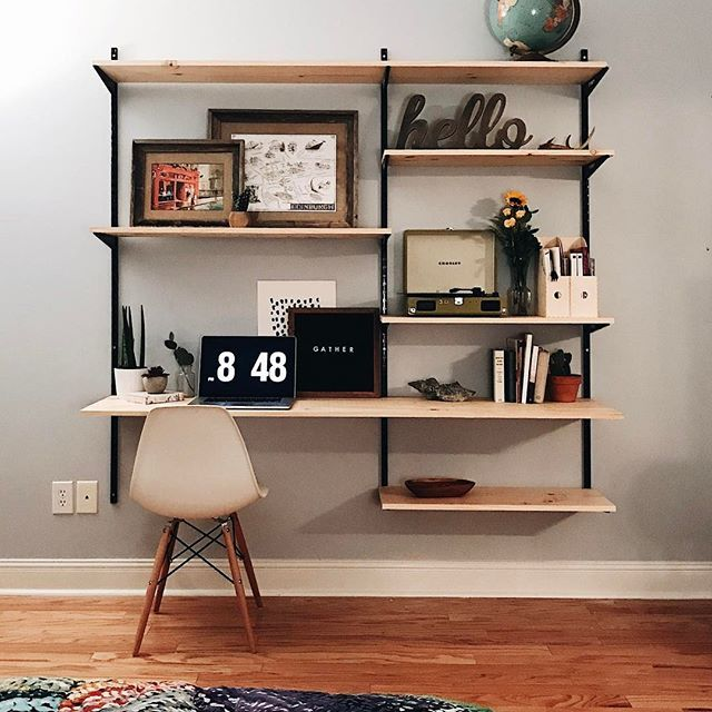 study, floating shelves with board table, white modern chair