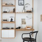 Study, Floating Wooden Shelves And Table, Black Chair, White Wall