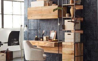 study, grey floor, dark grey wall, wooden table with shelves