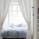 White Bed Nook, White Curtain, Wed Bed Platform, White Wooden Table