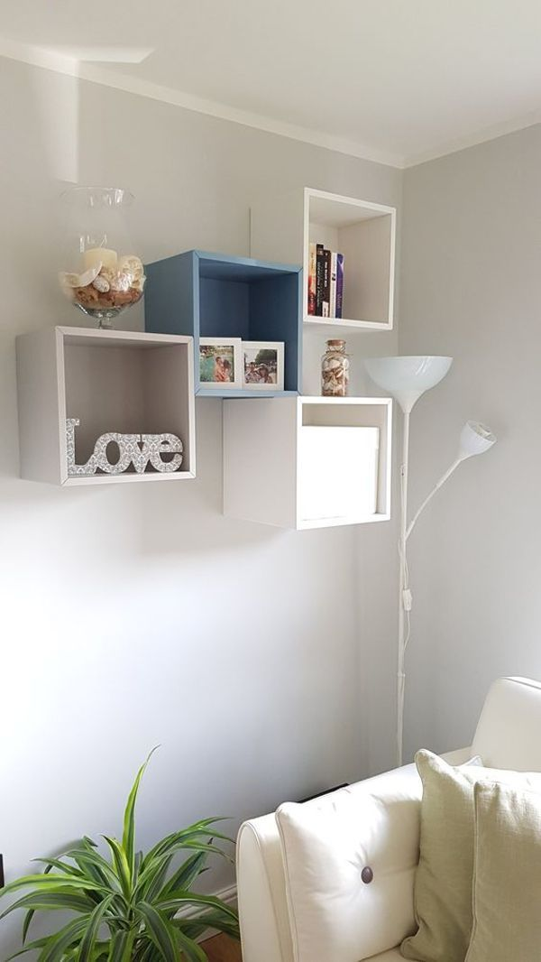white blue decorative shelves