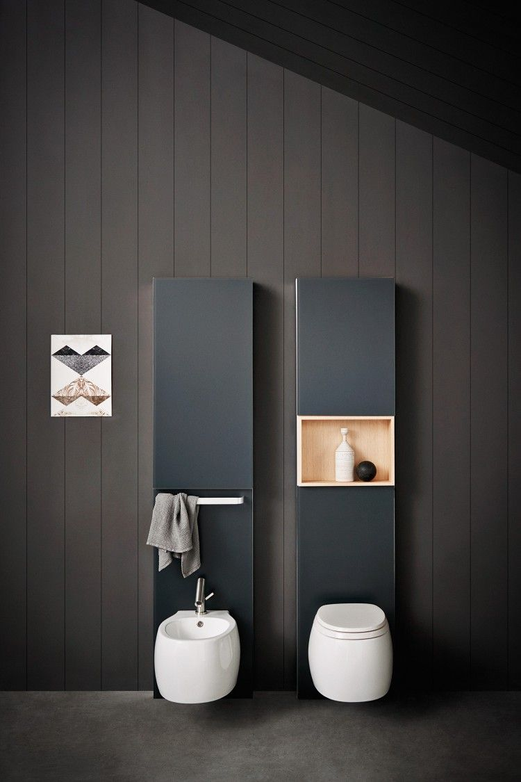 white roun toilet with grey cabinet, white floating sink with grey cabinet