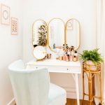 White Wooden Desk With Drawers, Three Oval Mirrors, White Chair, White Wall