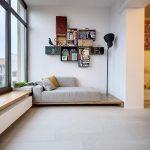 Wooden Bench, White Cushion, White Floating Cabinet, Floating Shelves, Black Floor Lamp