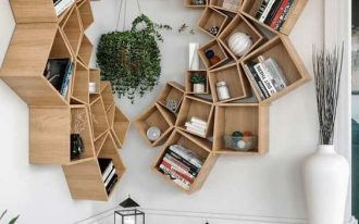 wooden bookshelves, movable boxes, corner