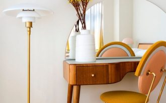 wooden desk with curve, half round mirror, yellow chair