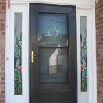Amazing Cool Adorable Front Door With Sidelights Window In Black Frame And Nice Sidelight Flower Decoration