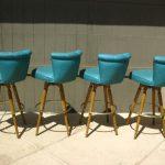 Amazing Cool Nice Attractive Set Of 4 Atomic Mid Century Modern Swivel Turquoise BAR STOOLS 728x546