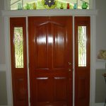 Attractive Classic Cool Nice Sidelight Window Idea With Brown Coloring And Has A Half Sidelight Design For Front Door Decoration
