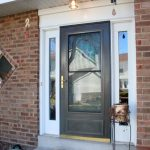Fantastic Adorable Cool Sidelight Window Idea With Black Door Frame Made Of Wood With Nice Reflection Glass Sidelight Window