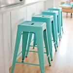 Modern Casual Nice Simpe Turquoise Bar Stool With Plastic Made Concept And Has Four Legs With Nice Shape