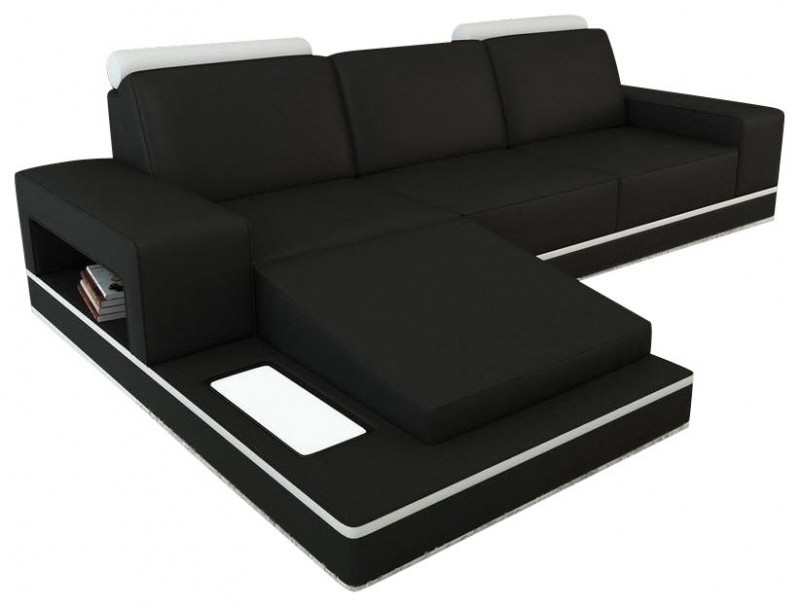 Black and White Bonded Leather Sectional Sofa
