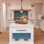Dominated By White Mediterranean Kitchen Design Wooden Floor Hanging Lamp Drawer Stove Shelf Ceiling Lamp