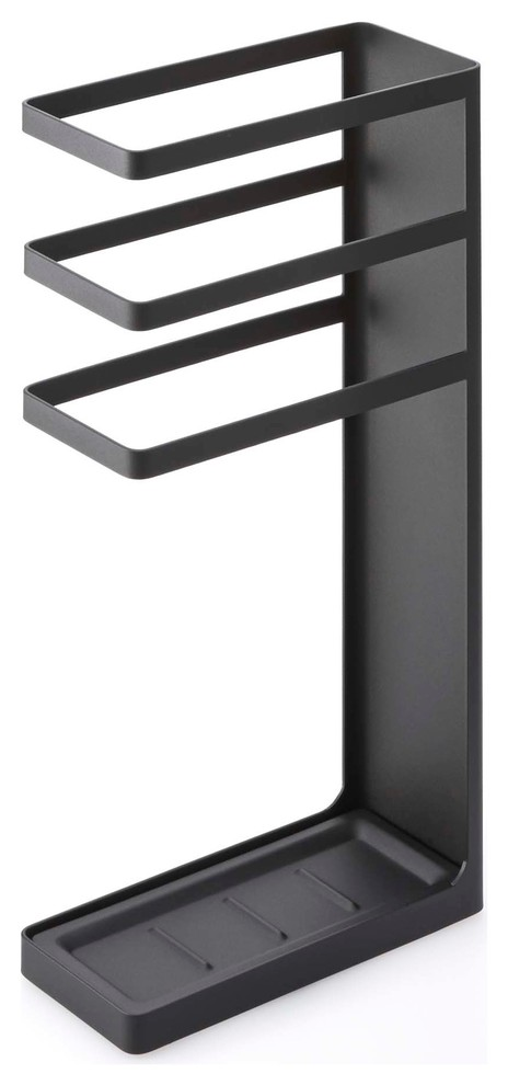 Japanese small black steel umbrella stand with thre lines at the top