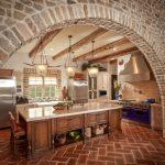 With Terra Cotta Floor Mediterranean Kitchen Design Bricks Hanging Lamps Window Dining Chair Cabinet Faucet Sink Terra Cotta Floor