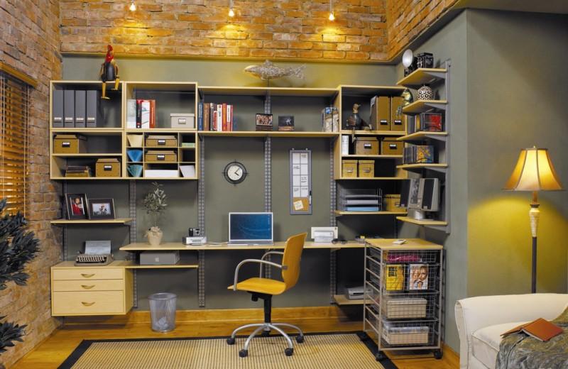 adjustable multiple shelves brick wall grey backwall freestanding office chair light wooden colored desk
