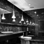 Alluring Small Hanging Lightnings Elegant Black Marble Bathroom Simple Washbasin Plate High Ceiling Wide Reflecting Mirror