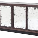 Antique And Modern Oakwood Deep Brown Tv Console With Rustic Mirrored Four Doors