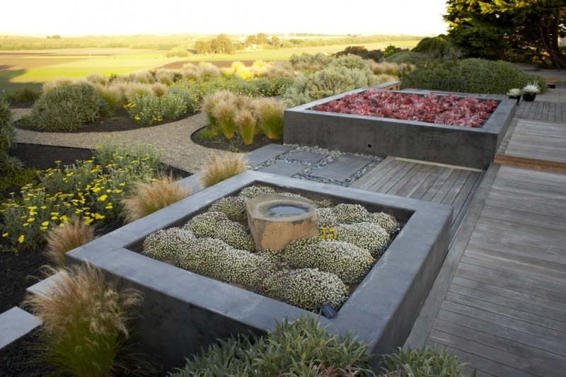 asian concrete planters with an Ipe deck