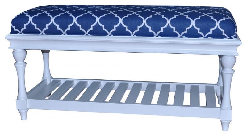 atlantic dark blue with white patterened upholster