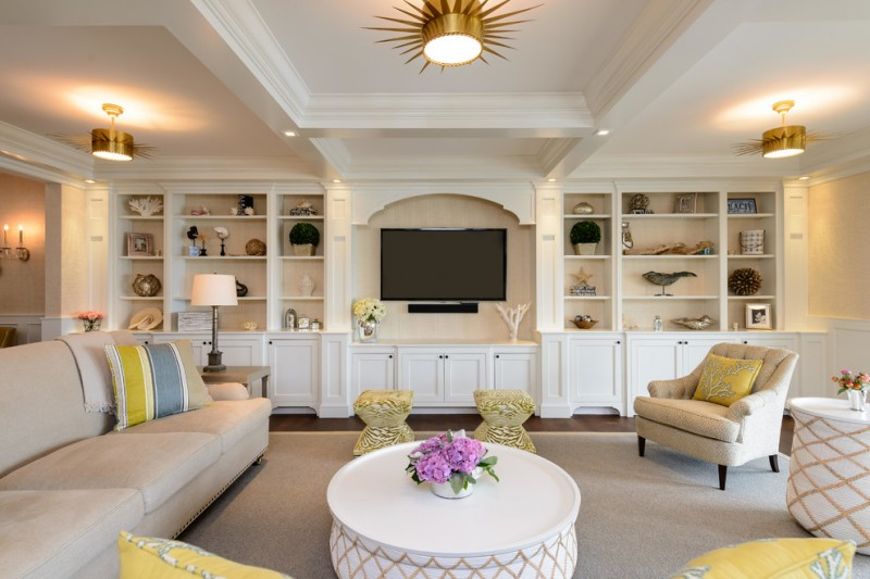 beach style built in cabinet in white wood finish
