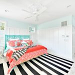 Beach Style Coral And Turquoise Bedding With Turquoise Linen And Coral Pillows And Comforter