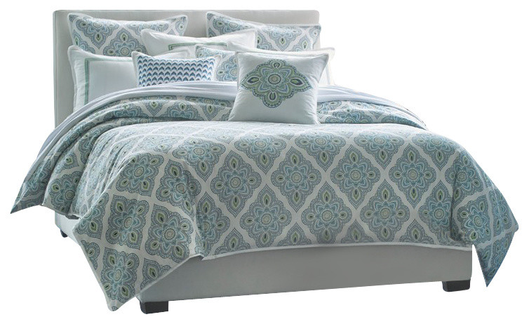 beach style teal and gray bedding with white twill flange and a seafoam green and blue diamond print