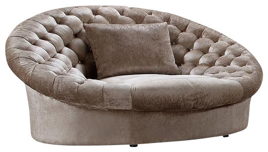 beige round a chair and a half with turted crystal