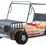 Black Classic Jeep Bed With Colorful Comforter