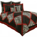 Black And Red Bedding With Square Pattern Zebra