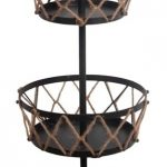 Black Brown Metal Finish Rustic Three Tier Serving Stand With Rope Accent