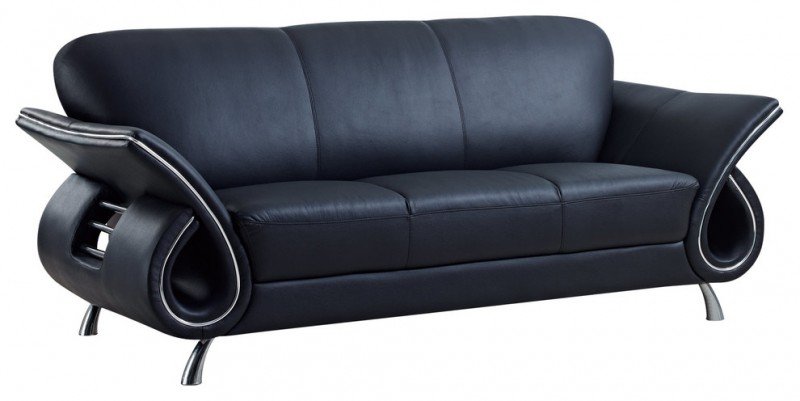 black leather sofa with 6 shaped arms