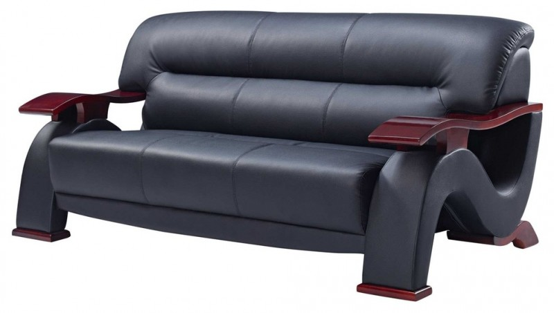 black leather sofa with mahogany finish