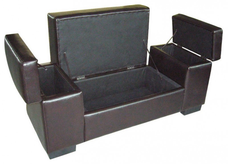 black leather storage bench with storage uner the seat and arm rests