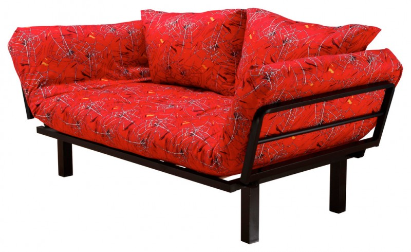 black metal finish sofa with movable arm rest and red cushion and two pillows