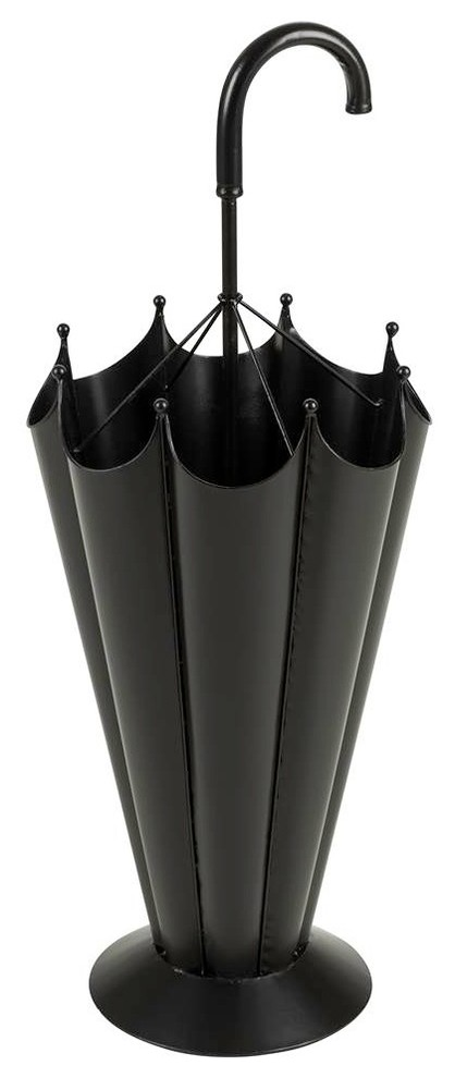black metal umbrella stand in the shaped of folded umbrella